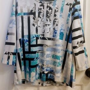 Chico's Easywear 3/4 Sleeve Pullover Blouse Sz 1